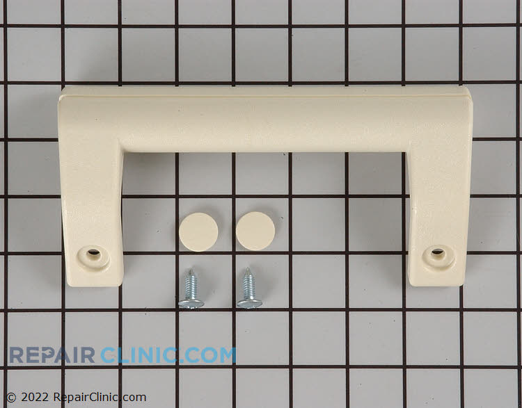 Almond Door handle with mounting screws and decorative screw covers