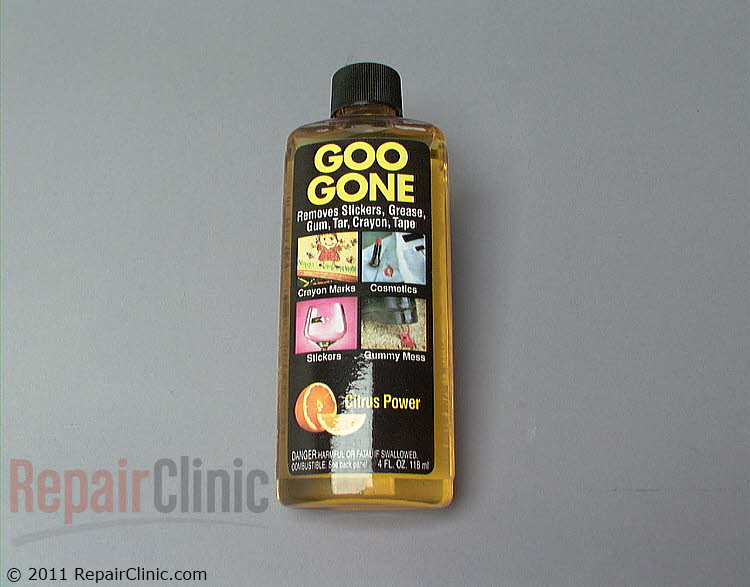 Goo Gone, 4oz. Removes grease, gum, stickers, tape, crayons and many other types of adhesive. Citrus power. Can also be used on laundry stains.