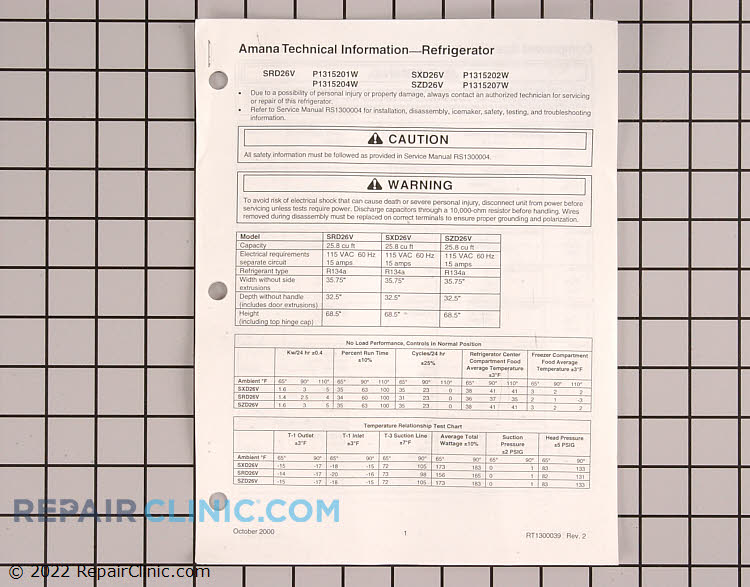 Tech Sheet RT1300039       Alternate Product View