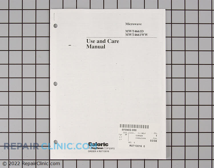 Manuals, Care Guides & Literature R0713016 Alternate Product View