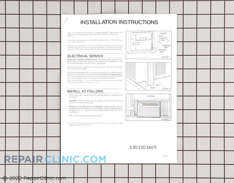 Installation Instructions 5303303809      Alternate Product View