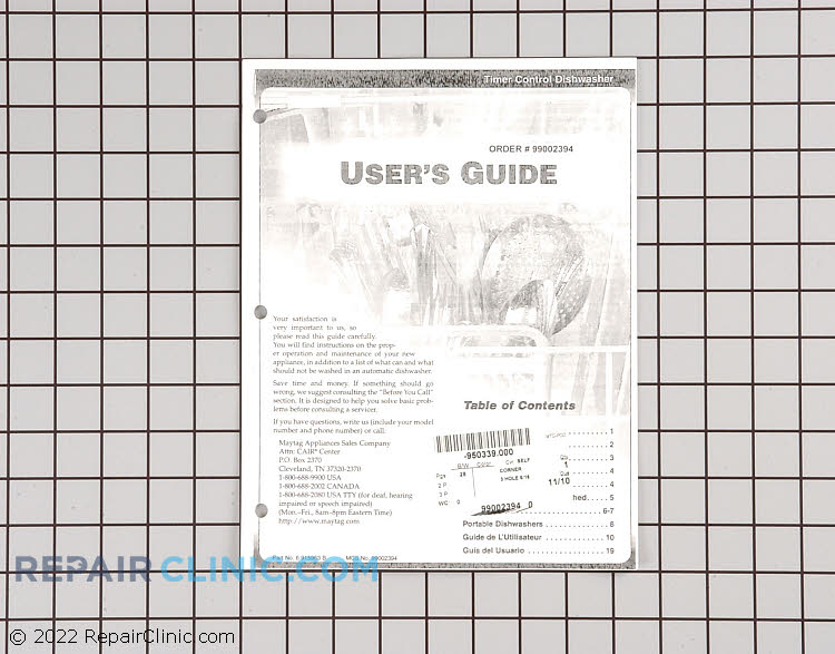 Owner's Manual 99002394 Alternate Product View