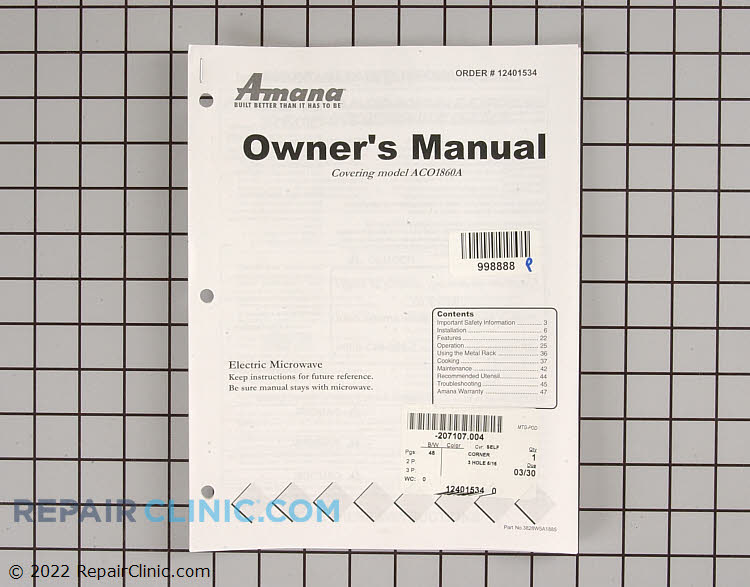 Owner's Manual 12401534 Alternate Product View