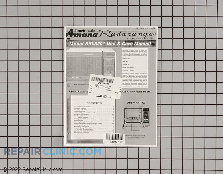 Owner's Manual C8948703 Alternate Product View