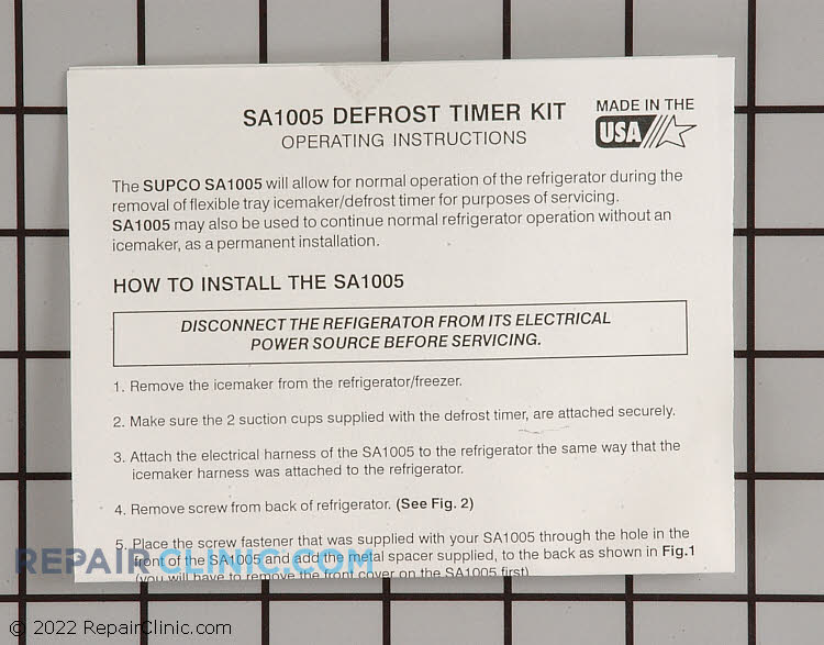 Defrost Timer SA1005          Alternate Product View