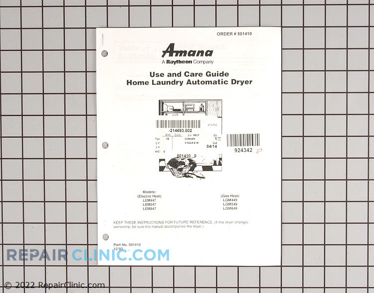 Owner's Manual 501410 Alternate Product View