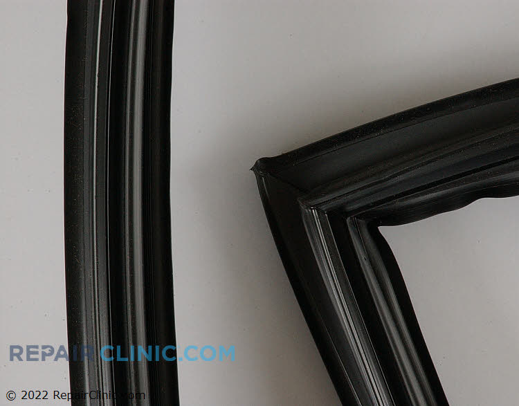 Refrigerator door gasket, black. If the gasket is defective, cold air will leak out of the refrigerator. As a result, the refrigerator may run longer than normal, or frost may accumulate inside of the refrigerator.