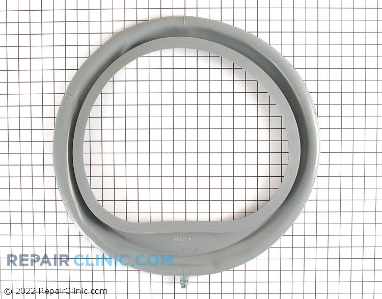 Door boot seal kit for front-loading washing machine. Includes drain, plug, and clamp. The door boot seal prevents water from leaking out of the washer. If the boot seal is torn or is not creating an effective seal, the washer will leak water.
