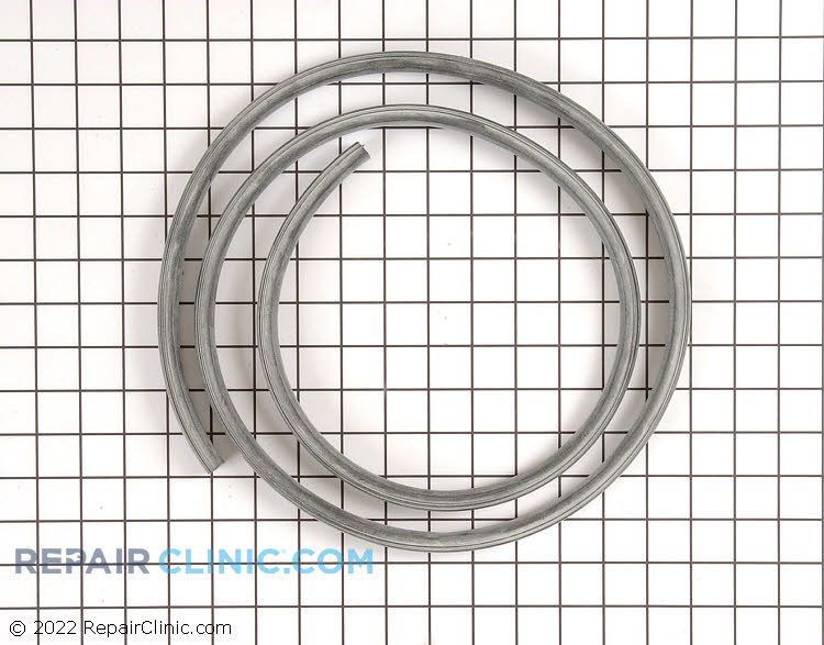 Dishwasher door gasket (or door seal). This door gasket creates a seal around the dishwasher to prevent water from leaking out. If the gasket is torn, the dishwasher will leak water.