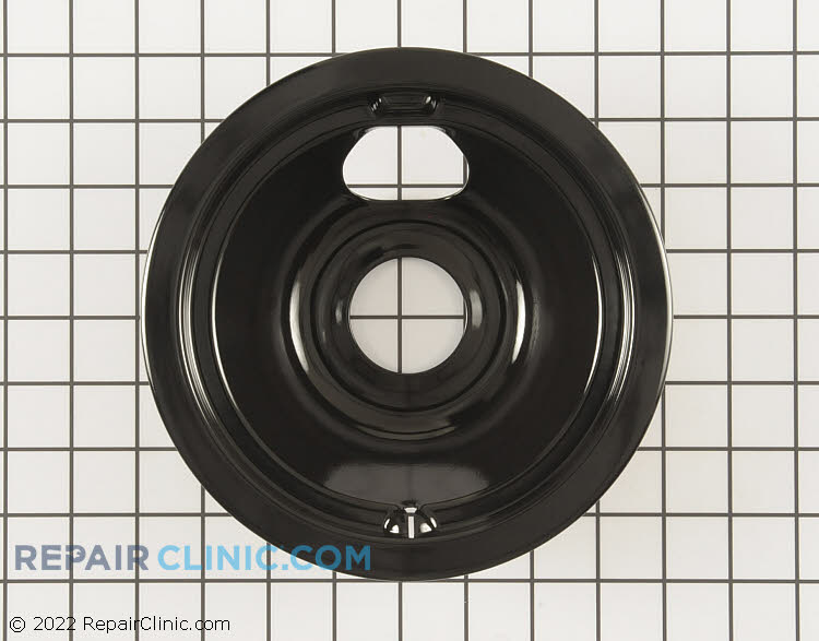 Black drip bowl (also called a drip pan) for 6 inch burner on an electric range. The drip pan sits underneath the heating element to catch drips or spills.