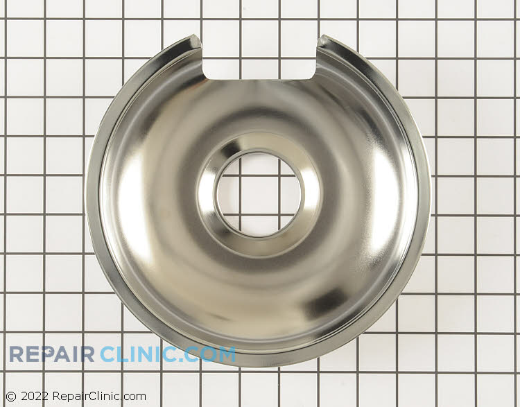 Chrome drip bowl for 8 inch burner on electric range/stove. The drip pan sits underneath the heating element to collect drips or spills around the burner.