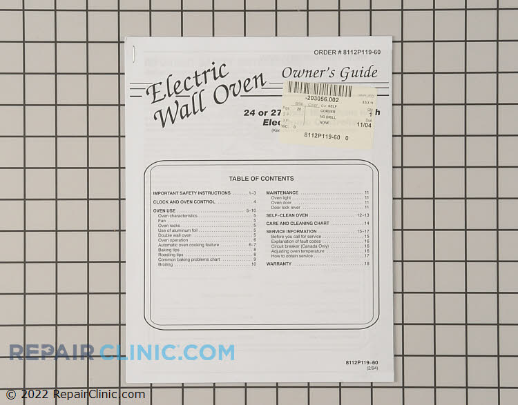 Manuals, Care Guides & Literature 8112P119-60 Alternate Product View