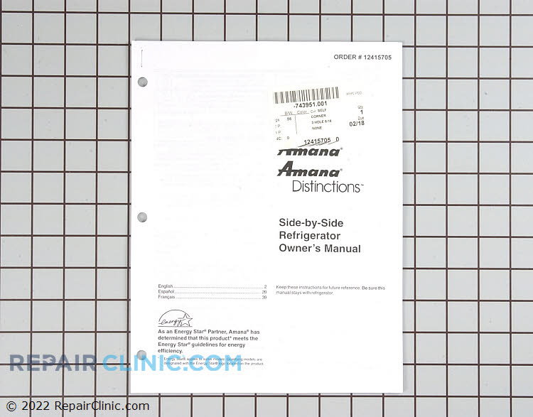 Owner's Manual 12415705        Alternate Product View