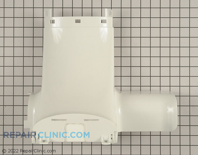 Refrigerator air inlet cover/damper kit with fan motor. Damper and fan assembly have been updated to prevent freezing food in the refrigerator.