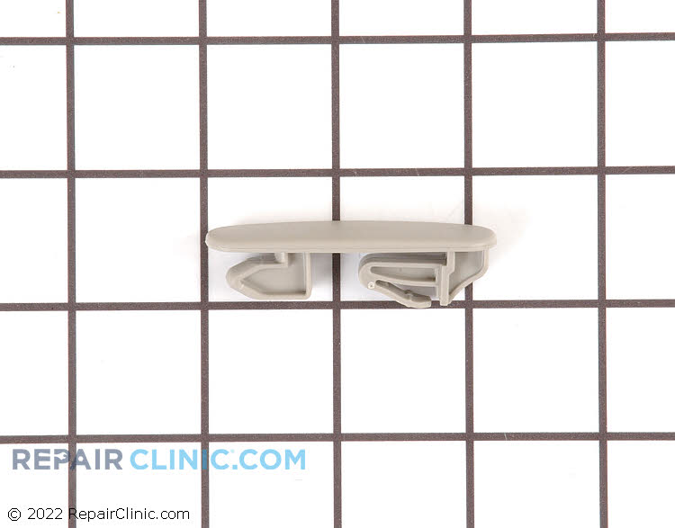 Stop clip for upper dishwasher dishrack. The stop clip prevents the dishrack from sliding all the way out of the dishwasher.