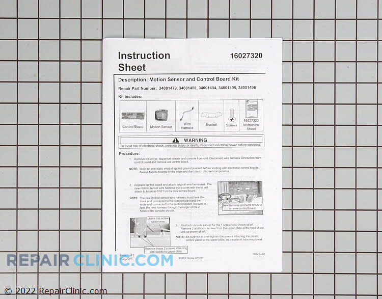 User Control and Display Board WP34001494 Alternate Product View