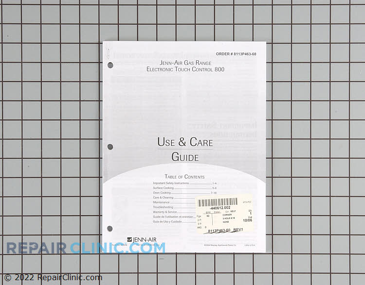 Manuals, Care Guides & Literature 8113P463-60 Alternate Product View