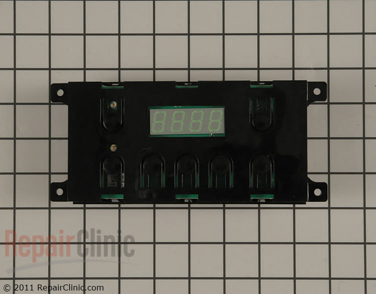 Electronic oven control board. Also known as electronic clock control. Displays the time of day and controls the oven bake, broil functions.