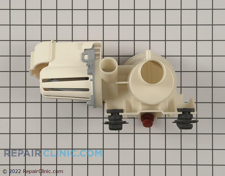 Washing machine drain pump assembly. If the washer does not drain the pump may be clogged, damaged, or defective.
