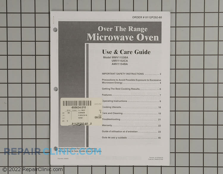 Manuals, Care Guides & Literature 8112P292-60 Alternate Product View