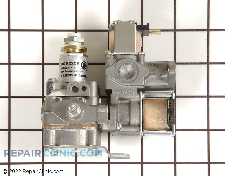 Dryer gas burner valve assembly. Two solenoids. When installing the new valve, transfer the orifice from the old valve to the new valve.