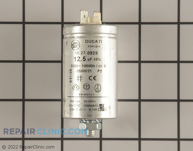 Motor capacitor, 12.5 MFD. 330 volts
