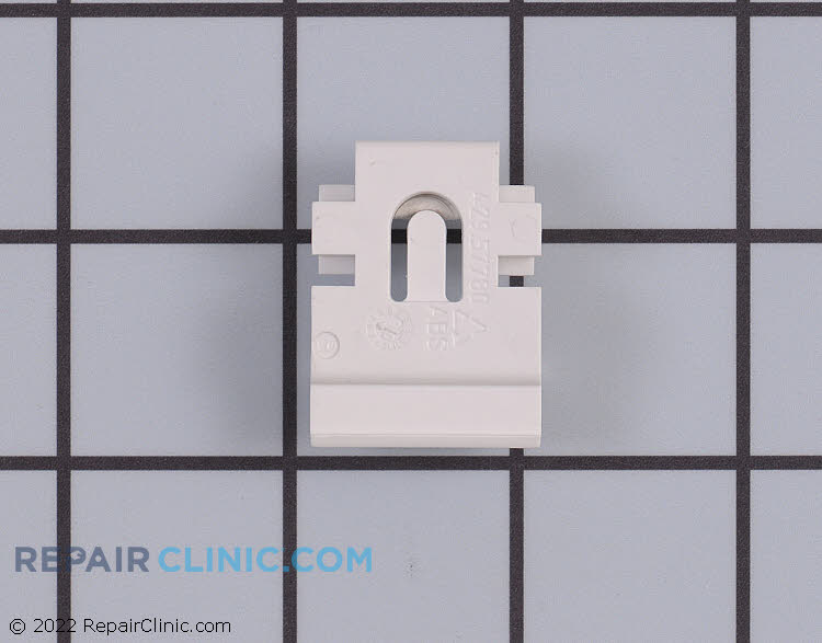 Front slide clip for refrigerator crisper pan.