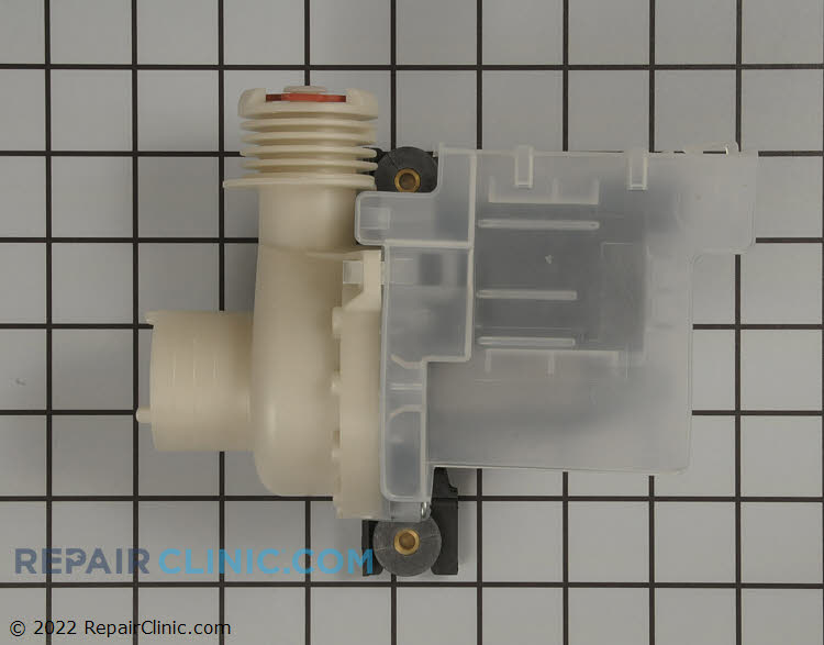 Washing machine drain pump. On some models you will need to configure the replacement pump to match the old pumps outlet port direction and reuse the old mounting bracket. If the washer does not drain then the drain pump may be clogged, damaged, or defective.