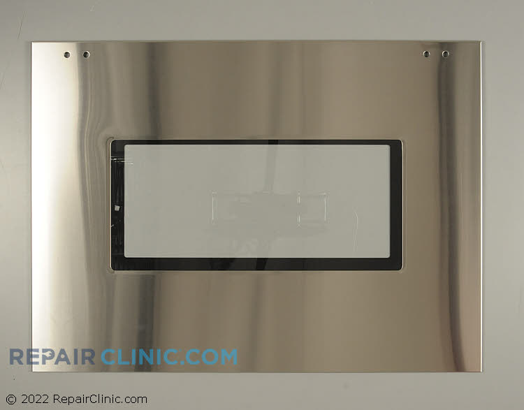 Outer door panel with glass, oven, stainless