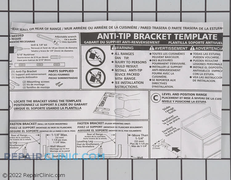 Anti-Tip Bracket 316112005       Alternate Product View