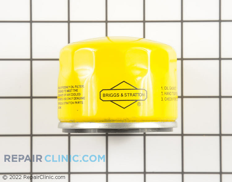 Briggs & Stratton Original Equipment 696854 Extended Life Oil Filter. For optimum performance, we recommend changing the oil in your small engine after the first five hours of use. After that, change the oil on a yearly basis or after every 50 hours of use (whichever comes first).