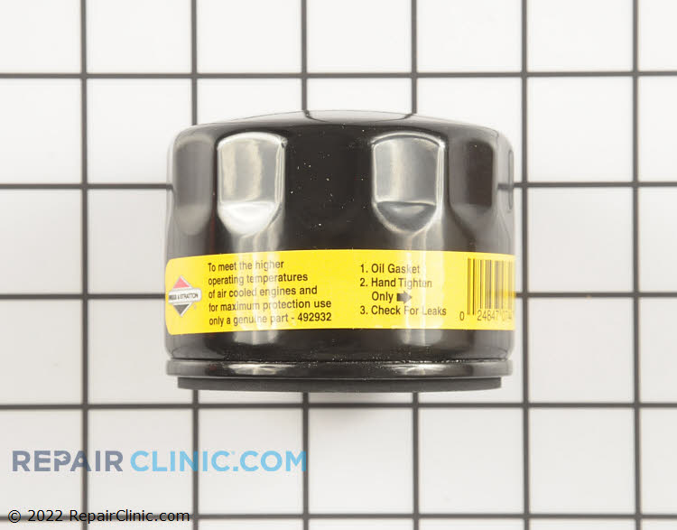 Briggs & Stratton Original Equipment 492932S Oil Filter. Length: 2 1/4 inches. For optimum performance, we recommend changing the oil in your small engine after the first five hours of use. After that, change the oil on a yearly basis or after every 50 hours of use (whichever comes first).