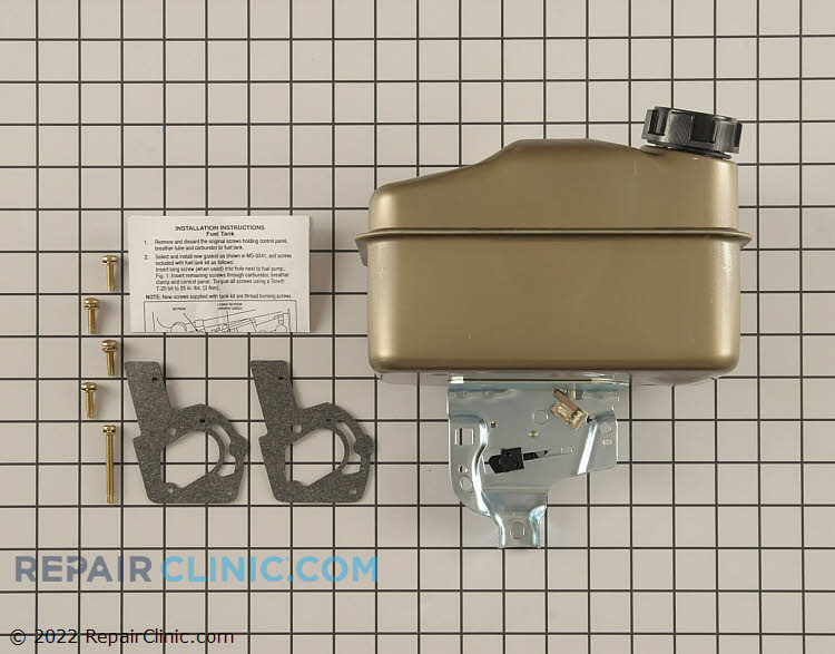 Briggs & Stratton Fuel Tank. If the fuel tank is leaking or rusty, replace it.