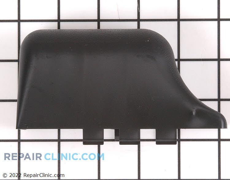 Cover, freezer door lower hinge, black