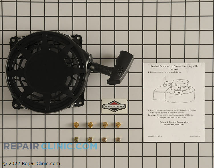Briggs & Stratton recoil starter kit. The recoil starter engages the drive cup on the flywheel to start the engine. If the recoil starter is defective, the engine may not start.