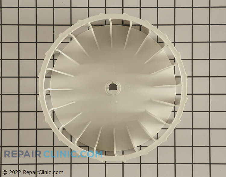"""Dryer blower wheel, 3-1/8"""" deep, 8"""" in diameter, 7-1/8"""" hub diameter, 20 standard fins, ½"""" diameter motor shaft, 3/8"""" motor shaft diameter to flat side of shaft. If more than one blower wheel is listed with your model, call us with your model and serial number to verify the part."""