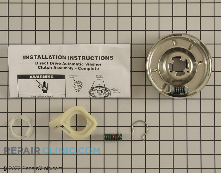Washing machine clutch assembly with hardware