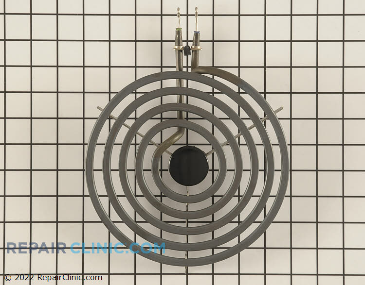 8 inch diameter electric surface element with looped terminal ends, 5 turn