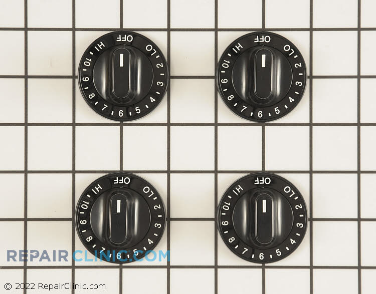 Surface burner knob kit, black, with double flat or figure eight shaped shaft, set of 4