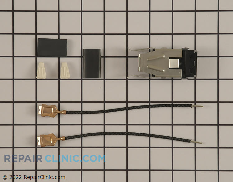 Surface burner receptacle with wires, wire nuts, and heat-shrink tubing
