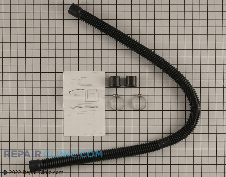 Drain hose extension kit with hose inserts and clamps