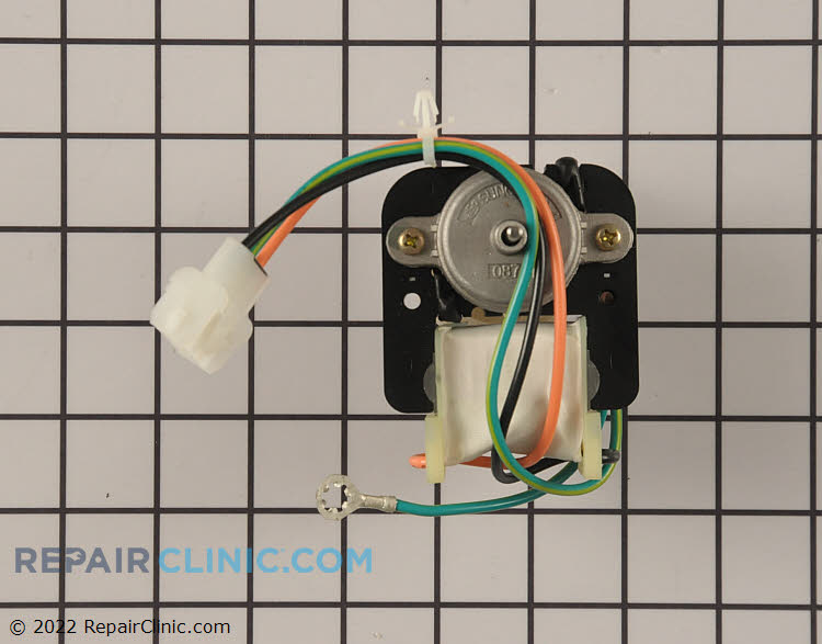 Refrigerator condenser fan motor. The condenser fan motor draws air though the condenser coils and over the compressor. If the condenser fan motor is defective, the refrigerator won't cool properly.