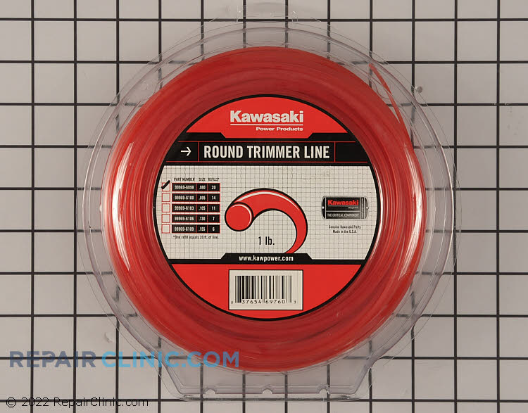 Genuine Kawasaki .080 Round Trimmer Line.<br>Application: String Trimmer<br> Diameter: .080<br>Quantity:: Approx 400 Feet<br>Line Shape: Round<br>Compatible with all String Trimmers using .080 diameter line.
