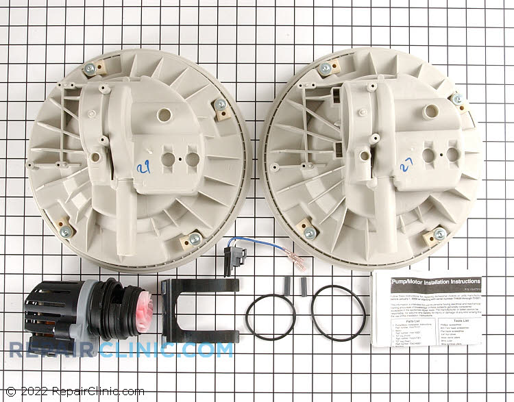 Circulation pump and motor kit. Includes two pump housings, one for upper spray models and one for non-upper spray models.