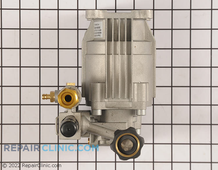 Horizontal Pump Assembly. If the pressure washer is leaking water, the pump may need to be rebuilt or replaced. When installing this pump, you will need to reuse the old thermal release valve or purchase a new one.