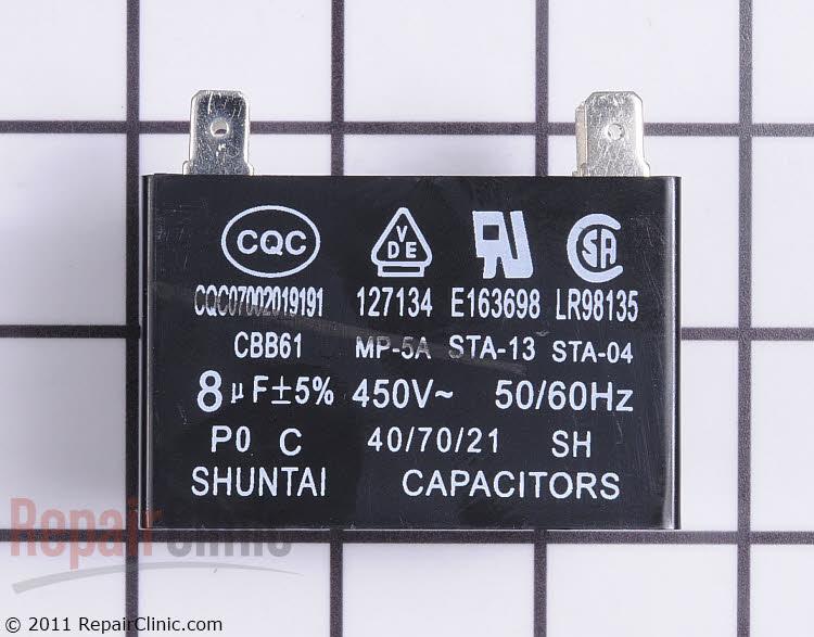 Fan motor capacitor 450 volt 8mfd.