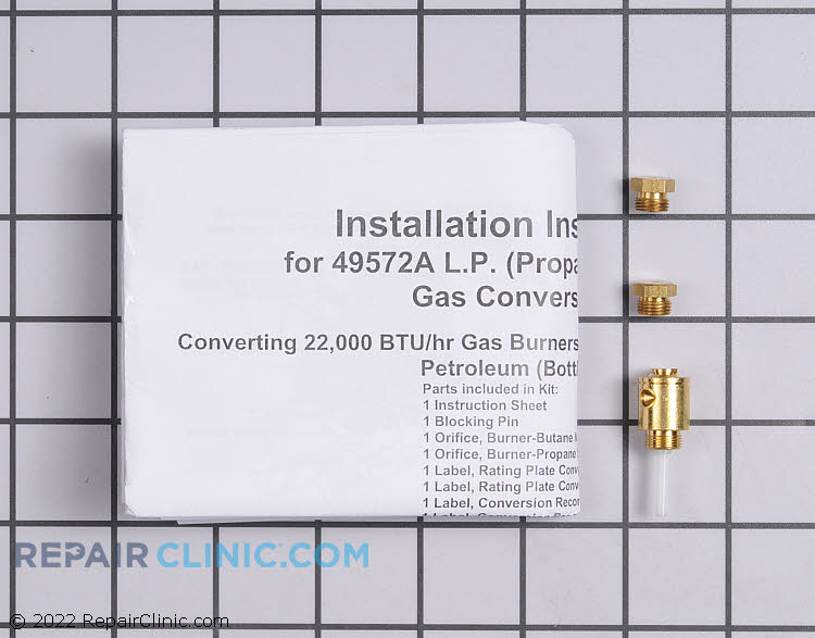 Dryer LP (liquid propane) conversion kit. From Natural gas to LP.