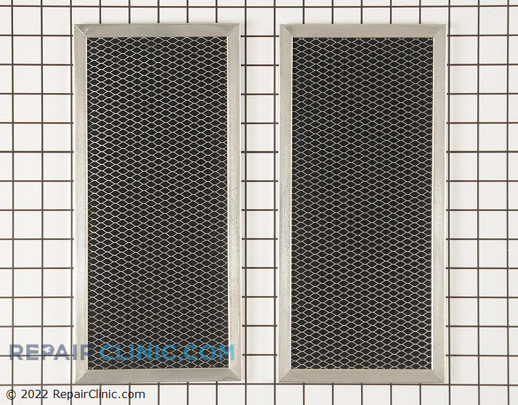 """Charcoal air filter - 2 pack. Aproximately 12 1/4"""" x 5 3/4"""" Helps to filter out oders in recirculating vent hoods and microwaves."""