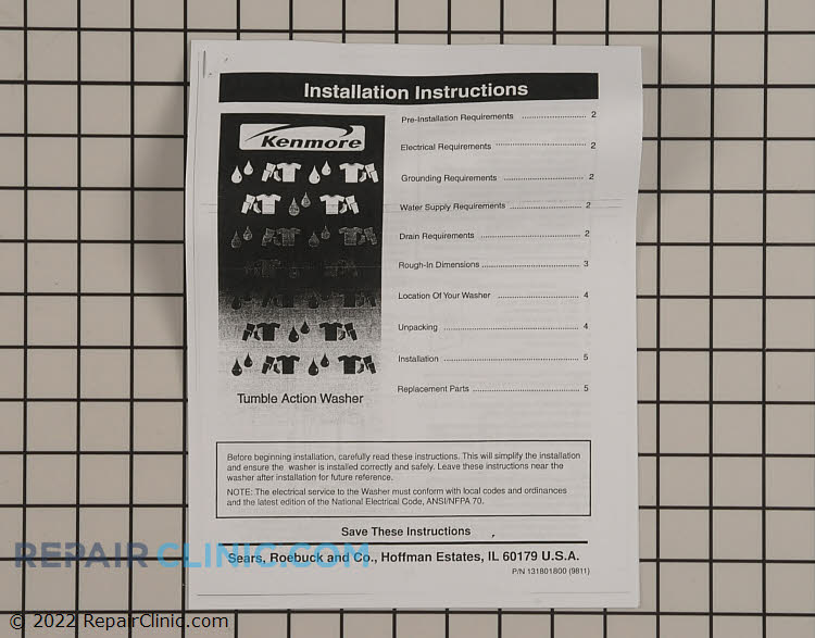 Installation Instructions 131801800 Alternate Product View