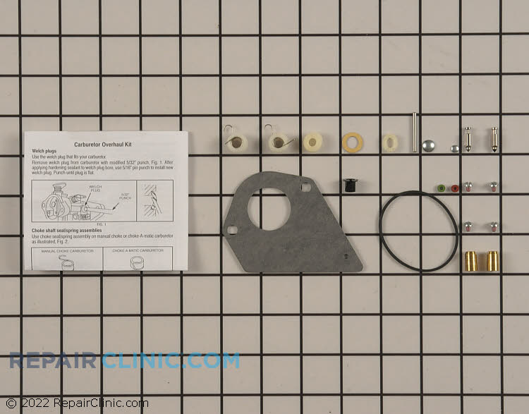 Carburetor rebuild kit. Briggs & Stratton recently eliminated carburetor nozzles from various kits as a running change. Carburetor nozzles are still available for purchase by using your model/type number if needed.